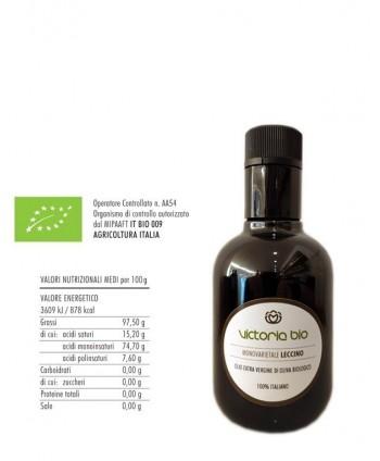 Monovarietale Leccino 250ml Olio Extra Vergine di Oliva Biologico